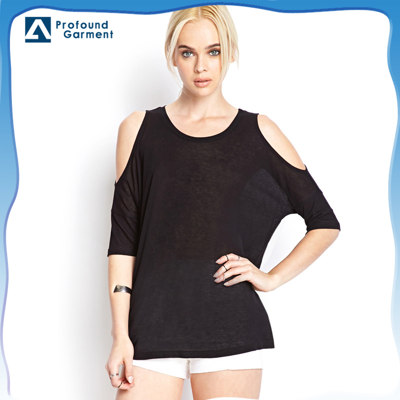 batwing cut off shoulder t shirts wholesale 100% cotton soft and thin t shirts