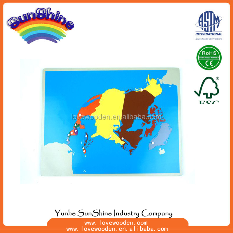 Montessori materials Wood Educational Toys NEW North America Puzzle Map With BASSWOOD FRAME ,geography