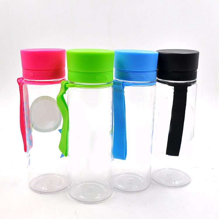 Simple design 400ml tritan sport bottle plastic water bottle with lanyard, BPA free