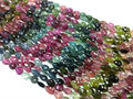 #HM Natural Semi-Precious Multi-Color Pear Faceted Loose Gemstone Tourmaline beads