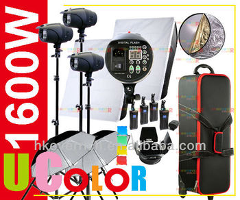 1600W Strobe Studio Flash Light Kit Lighting Photography Fan Cooled Set with Hard Carrying Case