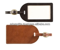 leather luggage tag for traveling / soft leather tag / luggage tag with buckle strap