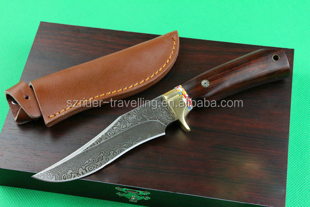 OEM Wood Handle Fixed Blade Knife DAMASCUS STEEL hand made