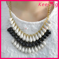 elegant white and black gold chian fashion latest design beaded necklace WNK-279