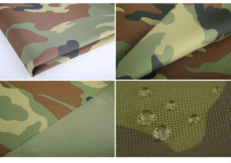 Textile fabric waterproof pvc coating 100 polyester rip stop military camouflage fabric wholesale
