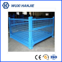 Strong load steel pallet container foldable metal wire mesh basket