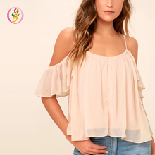 Two Layered Fluttering Ruffle Sleeves Cold Shoulder Blouse Skinny Straps Loose Maternity Top