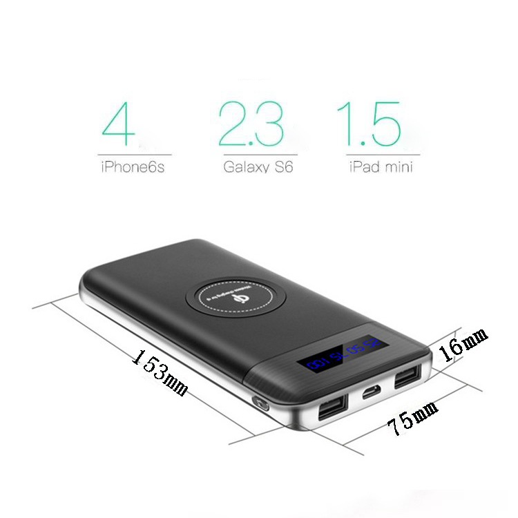 Factory Newest type-c qi power bank 10000mah wireless charger with digital display