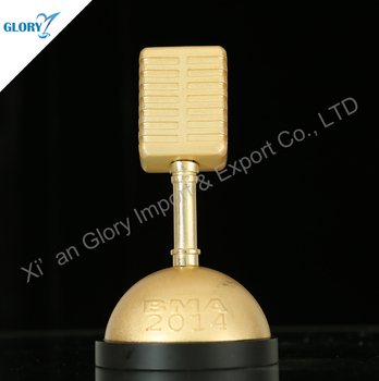 gold color metal microphone for sing show or singer awards and trophies