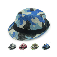 Promotional factory custom camouflage printing cheap straw fedora hat