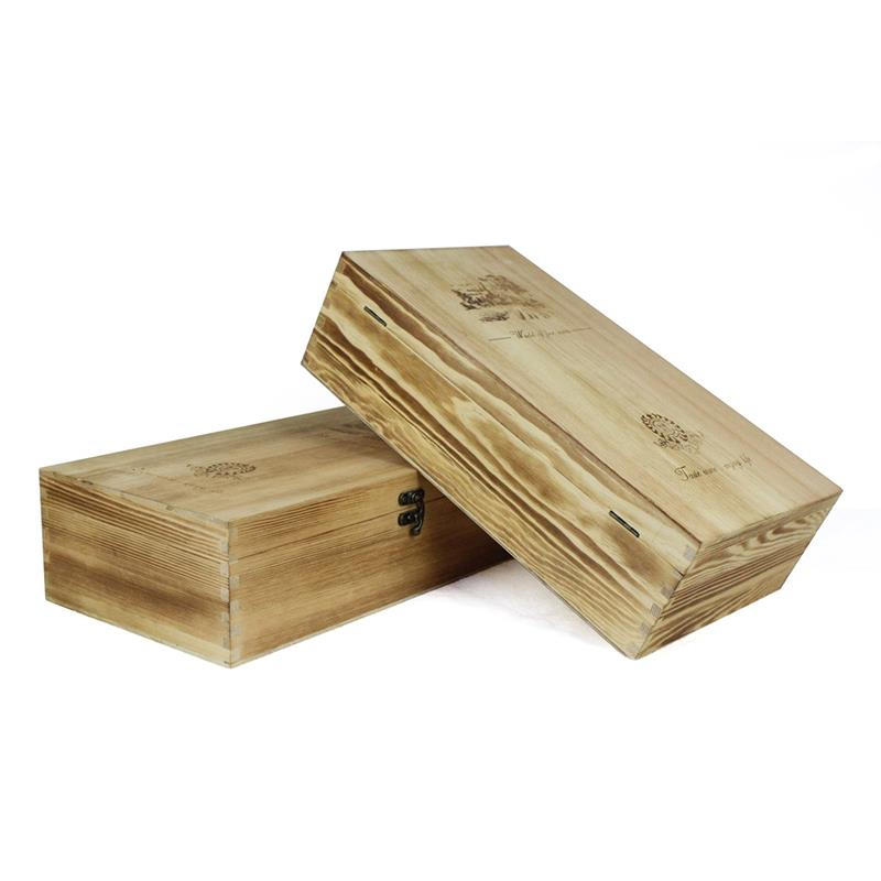 Wholesale exquisite handmade wooden wine crate with locked lid