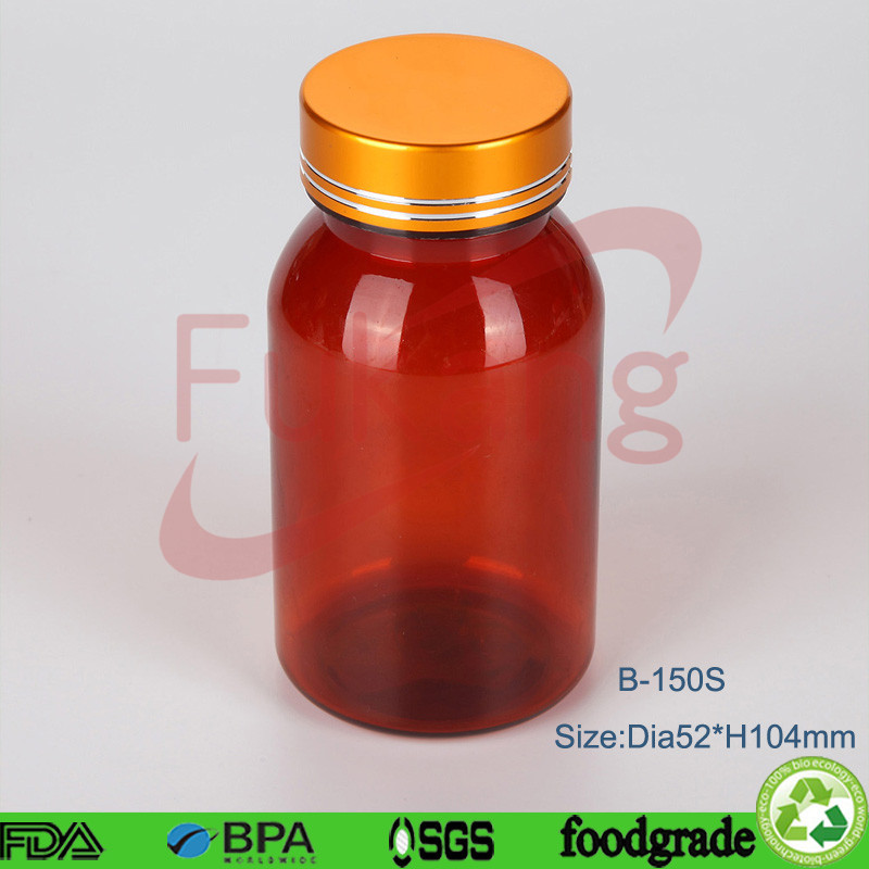 150cc Amber Plastic PET Capsule Bottle,Wholesale Brown Plastic Medicine Druy Packaging Container