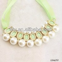 Alibaba in russian personalized novelty ribbon pearl layered pendant necklace