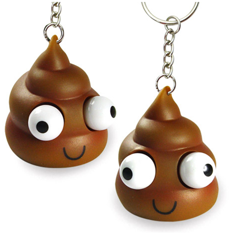 Emoji key chain, excrement toy shit key chain, eyes pop out keychains