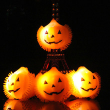 High quality Halloween pumpkin smiling face flash soft rubber candy ring toys light up party led flashing led jelly ring