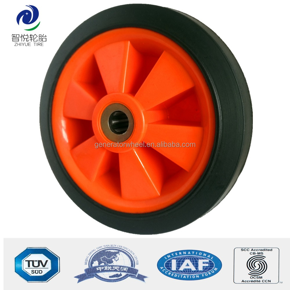 5 inch small solid rubber wheels for shopping cart, garden caddy, bassinet