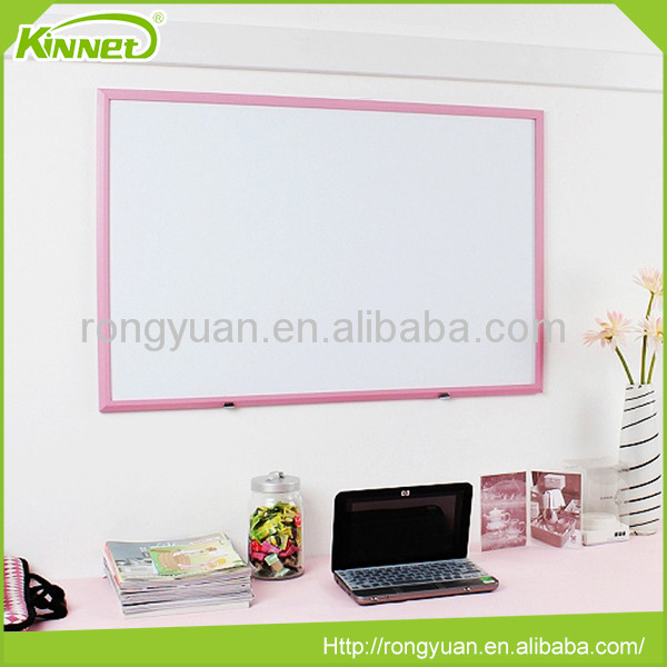 School supply Pink Wood Framed Wall hang slide white board for classrooms