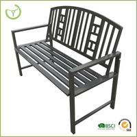 Outdoor cast aluminum garden bench with cushion