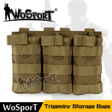 WoSporT Outdoor Tactical Nylon Accessory Magazine Pouch Mag Bag for Molle Vest Trigeminy Storage Bags