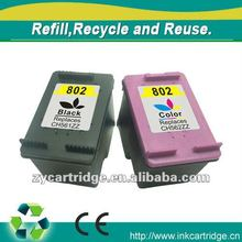 Compatible Color ink cartridge for hp 802 with nozzle,Renew ink cartridge