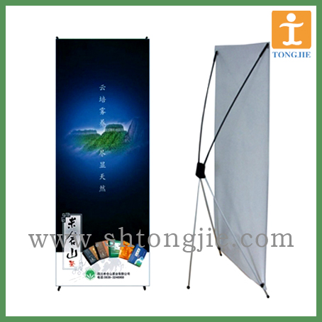 budget X banner, fiber glass banner stand, foldable X stand