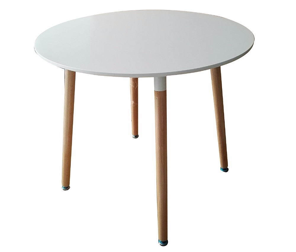 Dining Circular Round Table, living room table with Wooden Legs (Round, White)