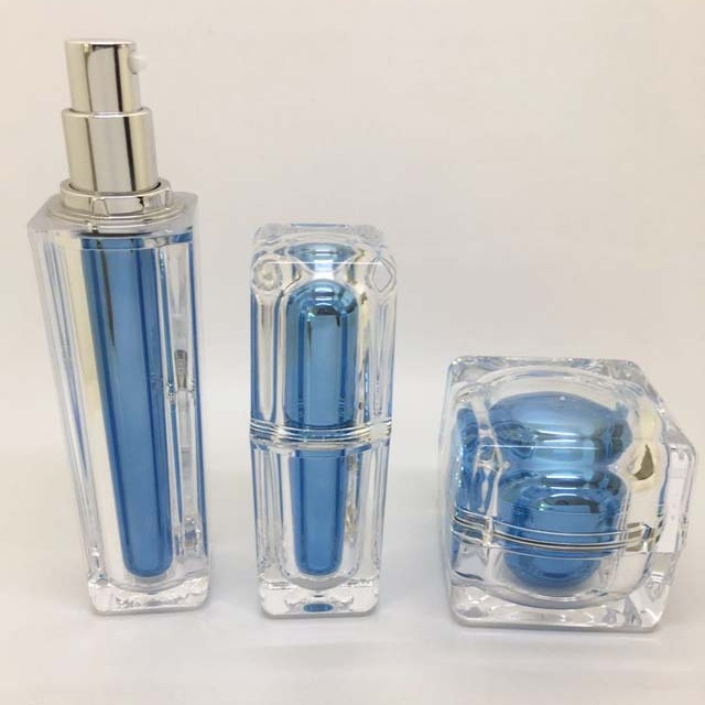 China package supplier blue color luxury acrylic square cream bottle and jar for personal care