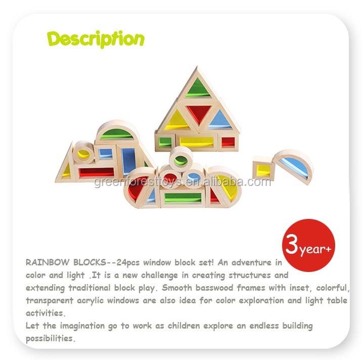 24 PCS Bass wood Toy Kids Education and Building Block Wooden Acrylic Rainbow Block