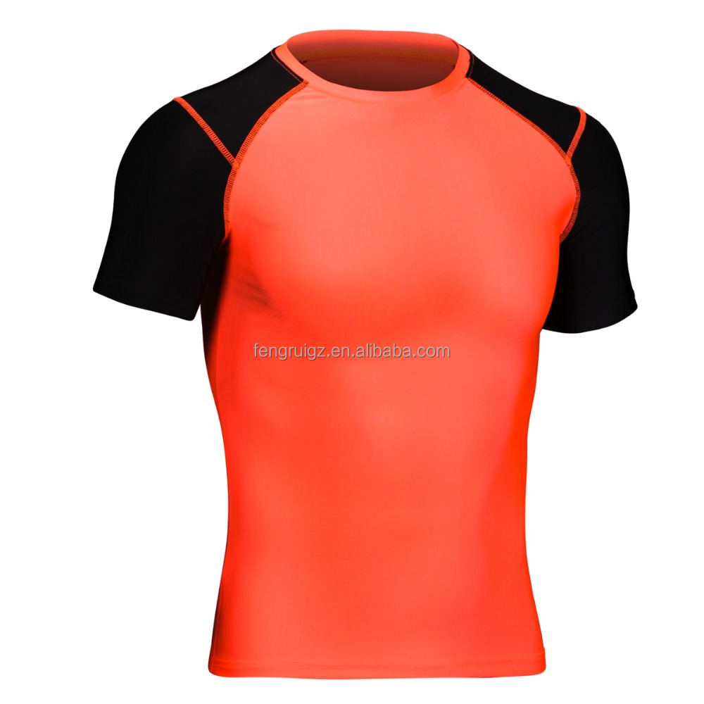 85%polyester 15%spandex <strong>Orange</strong>+Black raglan sleeve skin tight sportswear Mens gym/fitness/yoga compression t shirt