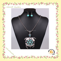 WS150922-4 Yiwu Adore Wholesale Fashion Alloy Turquoise Turtle Jewelry Set, antique silver jewellery, turtle pendant
