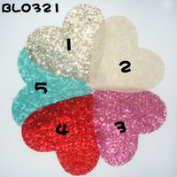 Valentine custom colorrs large sequin heart iron on applique for baby dressing
