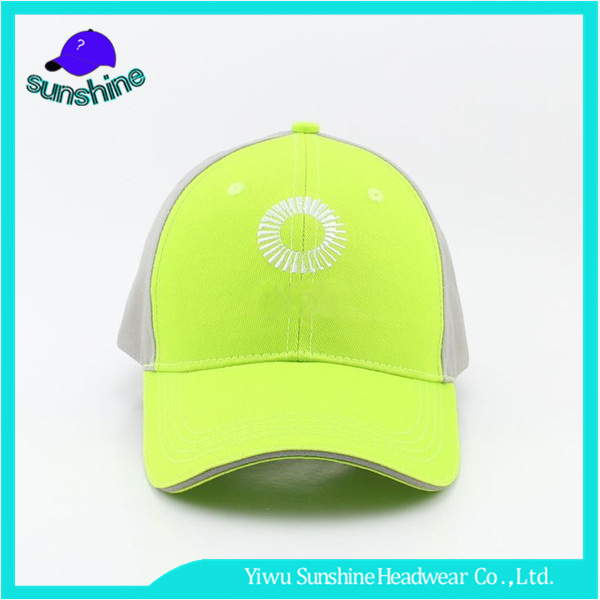 Wholesale Fashion Brief Design Caps Sandwich Brim Fluorescent Green Flexfit Baseball Cap