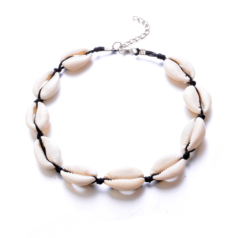 Cute Cowrie Choker Beach <strong>Necklace</strong> Multiple Different Colours of Thread Cowry Kauri Sea Shell <strong>Necklace</strong>
