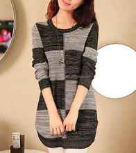 latest winter plaid knitted grey juniors ladies dress sweater