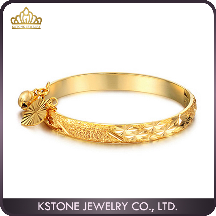 KSTONE 2016 new latest gold designs small bell Chinese character 18k gold bangle saudi arabia jewelry for Baby