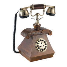 decorative wooden telephone vintage push button retro desk phone