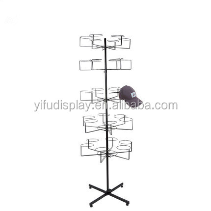 Five Layers Metal Cap Hat Display Stand, Fitted Hat Display Rack For Retail Store Cap Display
