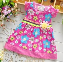 Baby frock designs 2015 one piece children girl dresses fashion full flowers printed girl dress