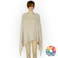 New Fashion Cream Color Winter Women Poncho Adult Woollen Knit Tassel Shawl Woman Hand Made Crochet Shawl For Winter