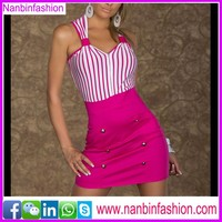 New style of strippe pink bodycon bandage dress wholesale