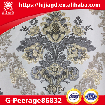 Thick PVC wall paper arabic design with deep patternfor hotle or livingroom