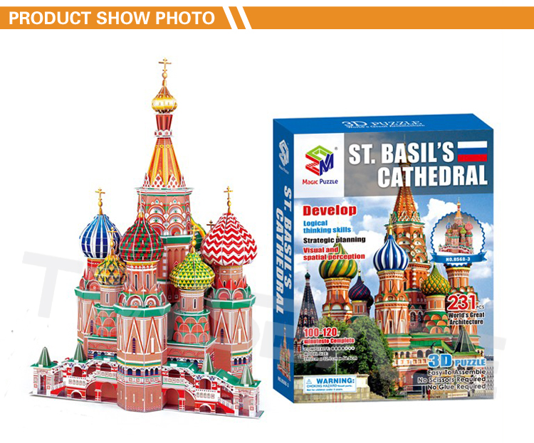 Russian Vasile Assumption Cathedral Model Toys 3D World Famous Building Puzzle For Sales