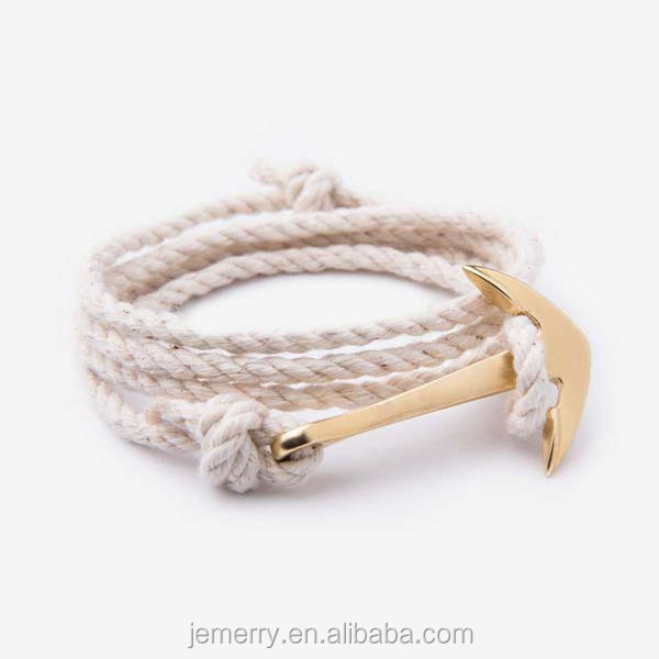 Summer Alloy Fish Anchor Charm Wrap Cotton Rope Gold Plated Anchor Bracelet For Man