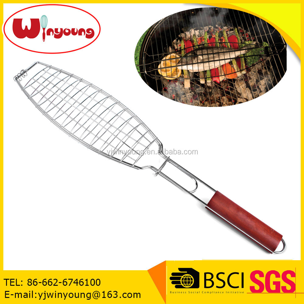 Chrome BBQ Fish grilling Roast Basket with Solid Wood Handle