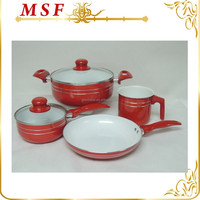 MSF-6601 6pcs pressing aluminum cookware set Latin America cookware style shinny painting on body & handle