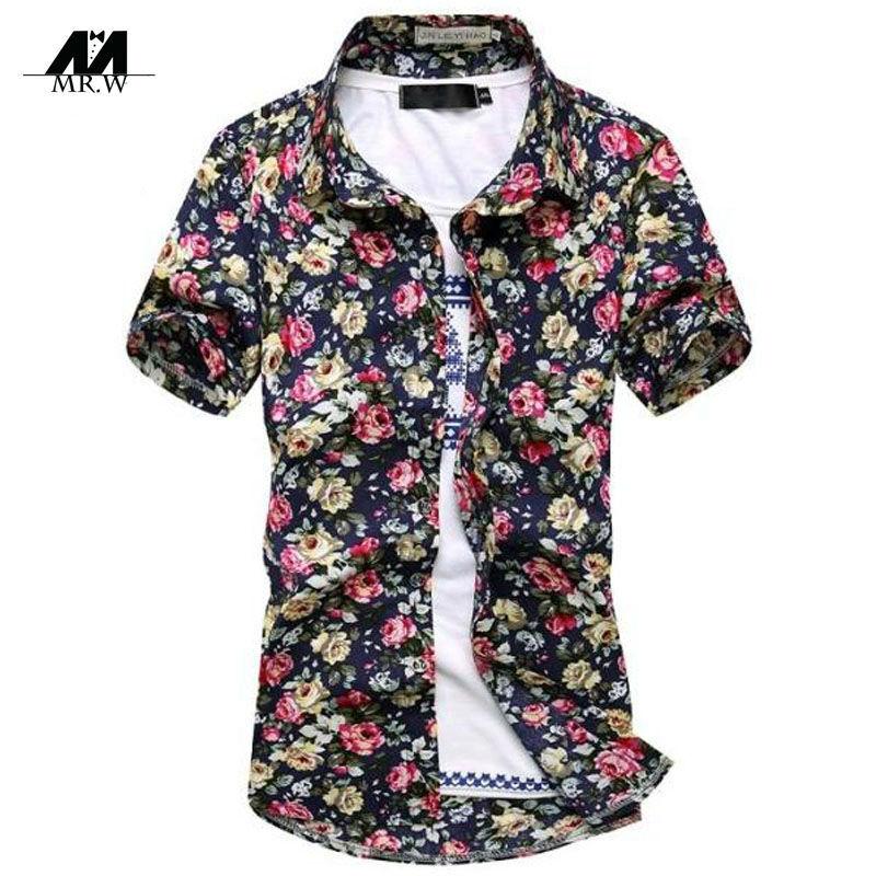 Get Quotations · Fashion Men Shirt Short Sleeves Floral Print Beach Hawaiian  Shirts Casual Youth Shirts Chemise Homme Plus 2d421328e8da