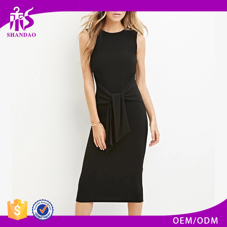 2016 Guangzhou Shandao Brand Name Bulk Wholesale Fashion Summer Sleeveless Round Neck Midi Black Cotton Ladies Casual Dresses