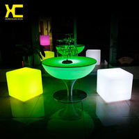 Chargeable Remote Control Control Plastic LED Table Restaurant Furniture Sets