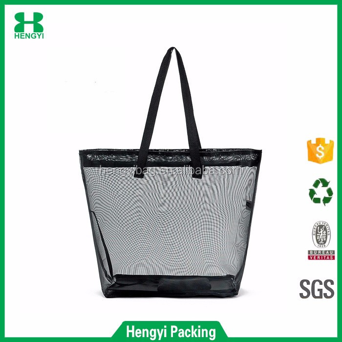 Wholesale cheap top quality lady polyester mesh tote bag/custom nylon mesh beach handbag