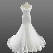 Ladies Wedding Dress Bridal Gown 2018 Vintage V Neck Appliques Lace Mermaid Alibaba Wedding Dresses with Cap Sleeves